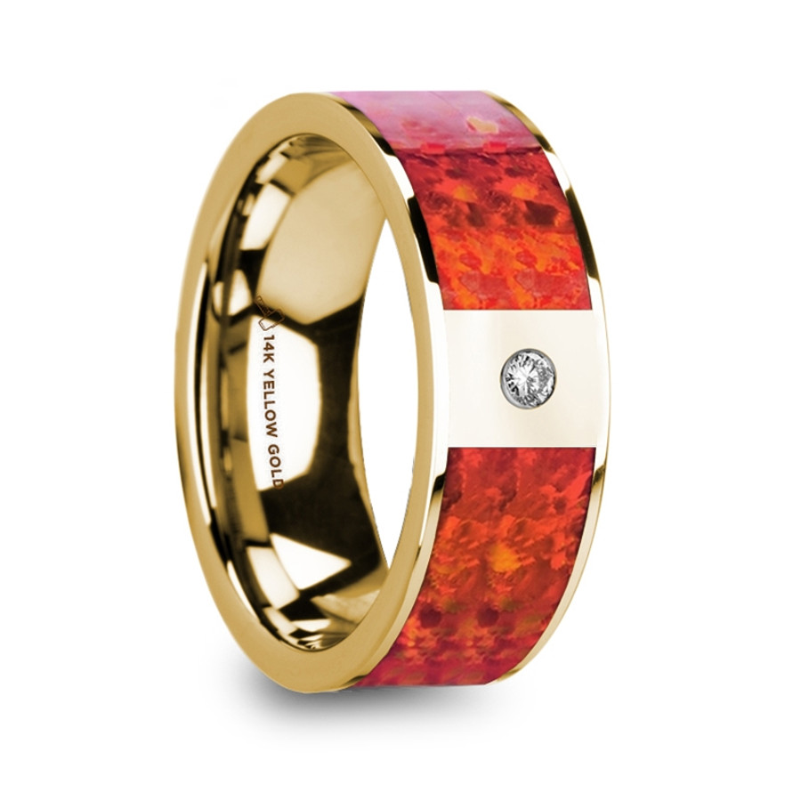 Anchialus Flat 14K Yellow Gold Men's Wedding Band with Red Opal Inlay & Diamond from Vansweden Jewelers