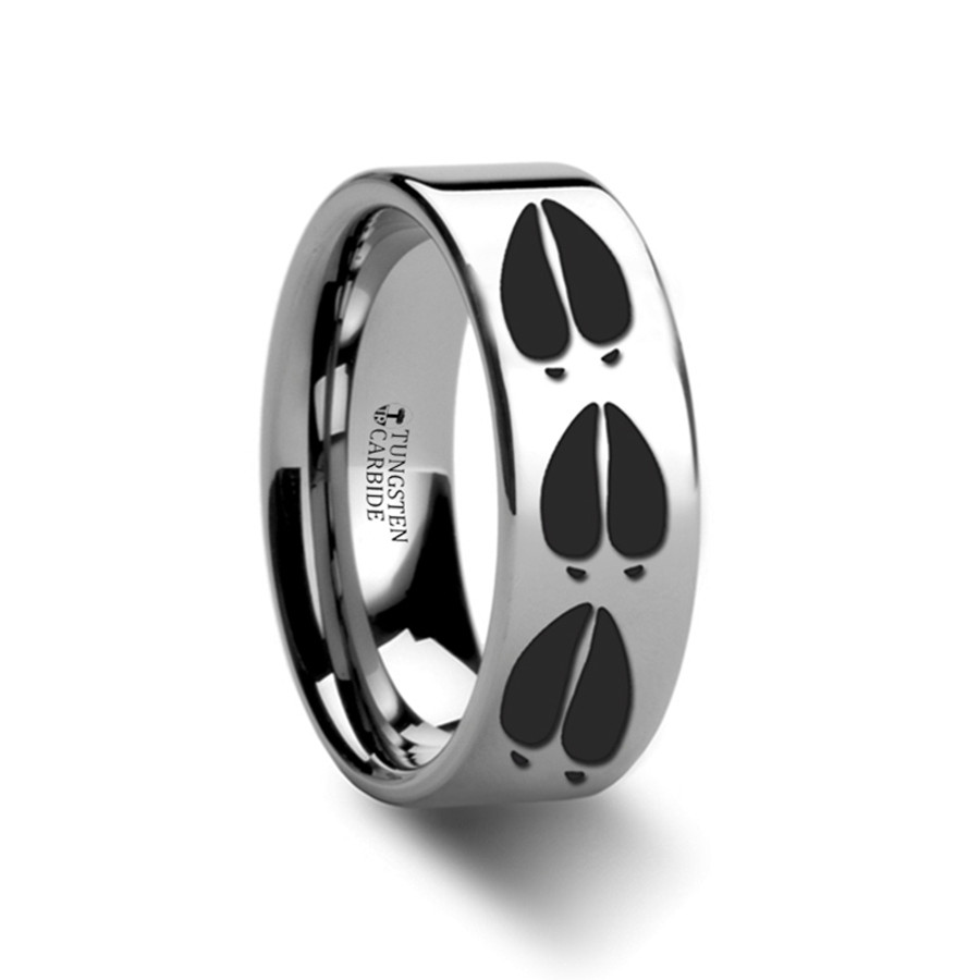 Aesacus Deer Track Engraved Flat Tungsten Ring from Vansweden Jewelers