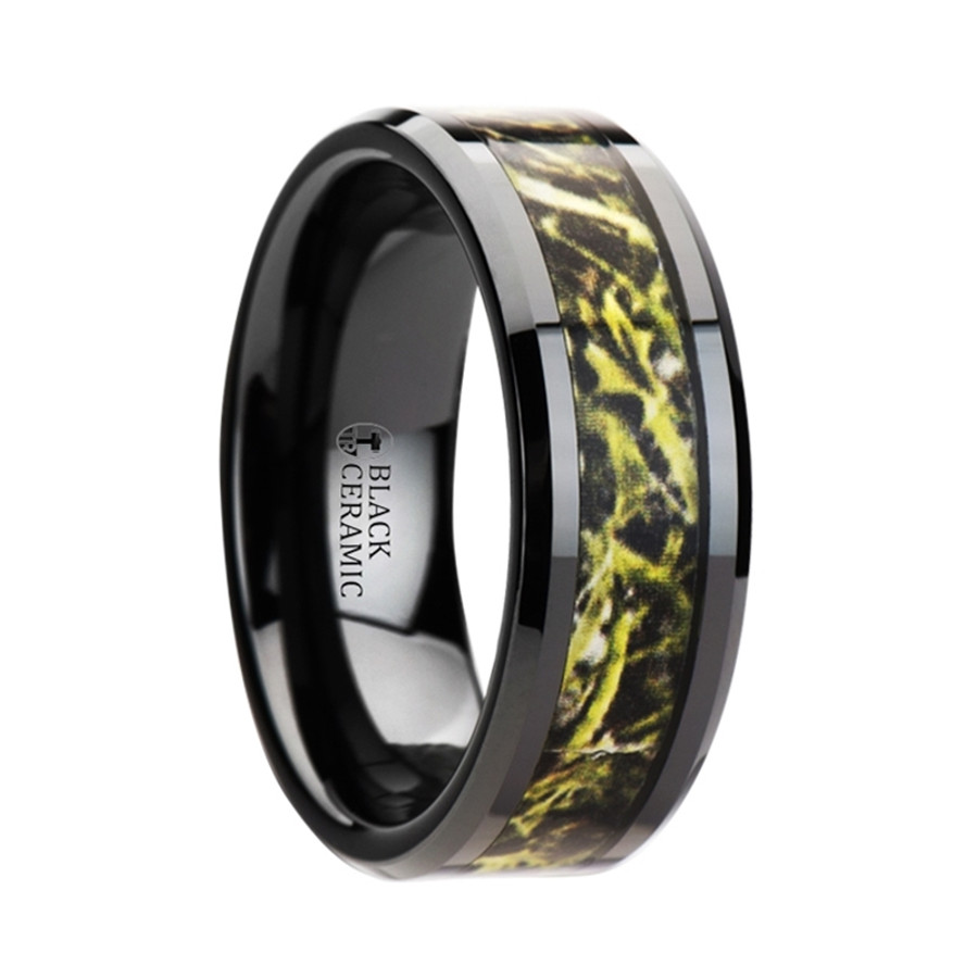 Polypheides Black Ceramic Wedding Band with Green Marsh Camo Inlay Ring from Vansweden Jewelers