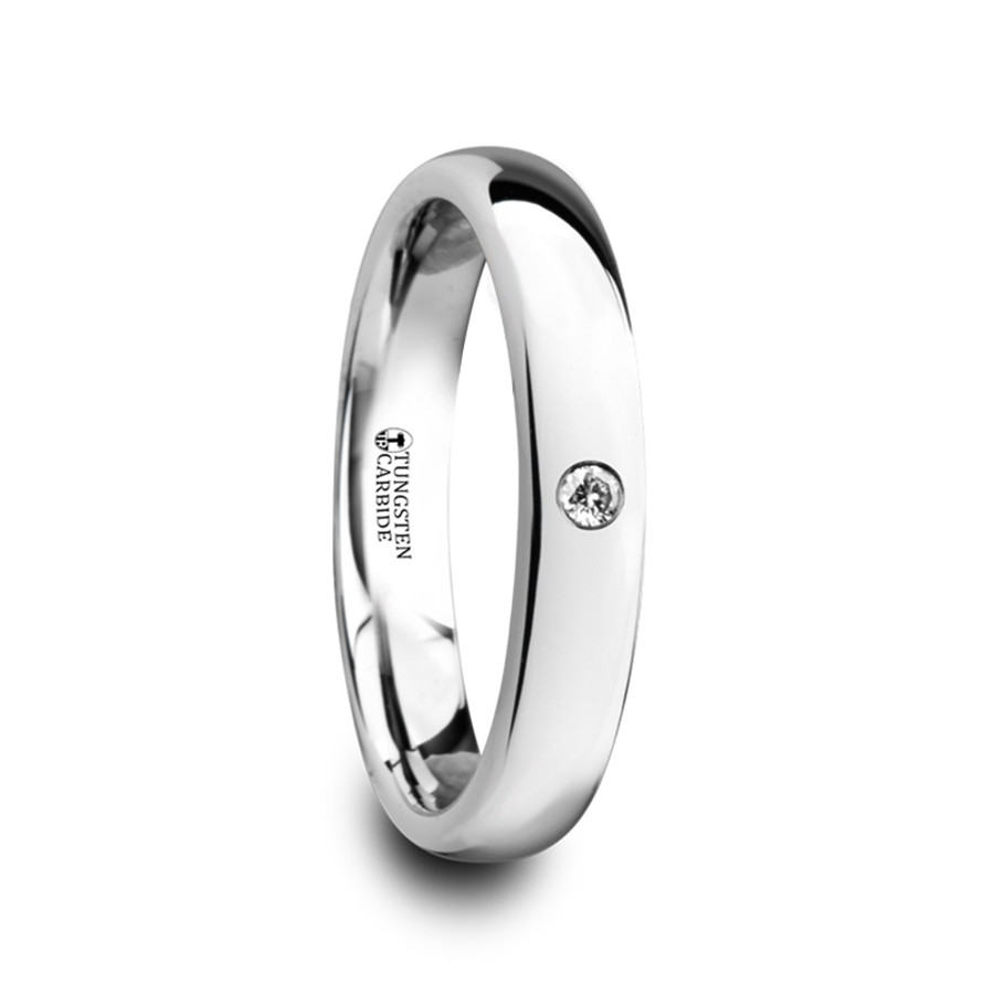 Acarnan Polished and Domed Tungsten Carbide Wedding Ring with White Diamond from Vansweden Jewelers