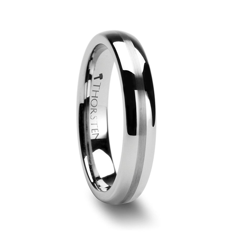 Arceophon Domed Tungsten Carbide Ring with Satin Stripe from Vansweden Jewelers