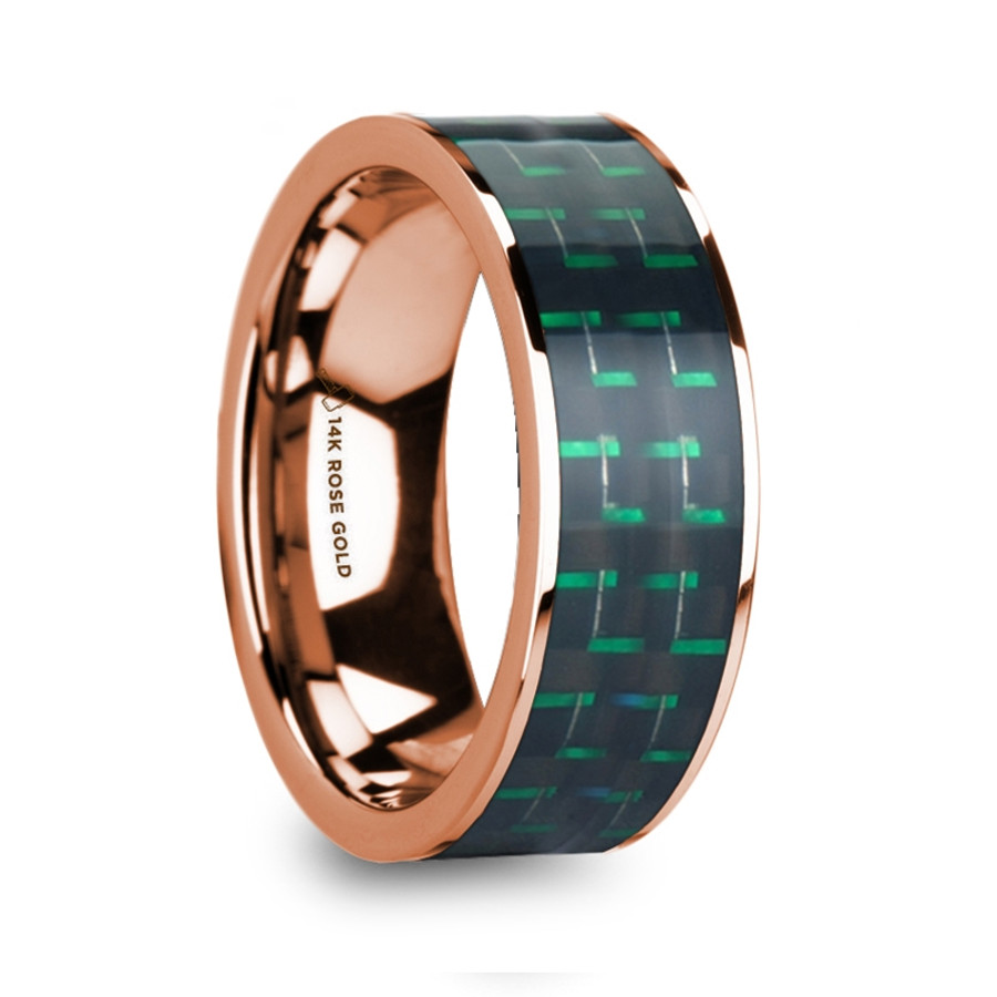 Agamedes Men's Polished 14k Rose Gold Flat Ring with Black & Green Carbon Fiber Inlay from Vansweden Jewelers
