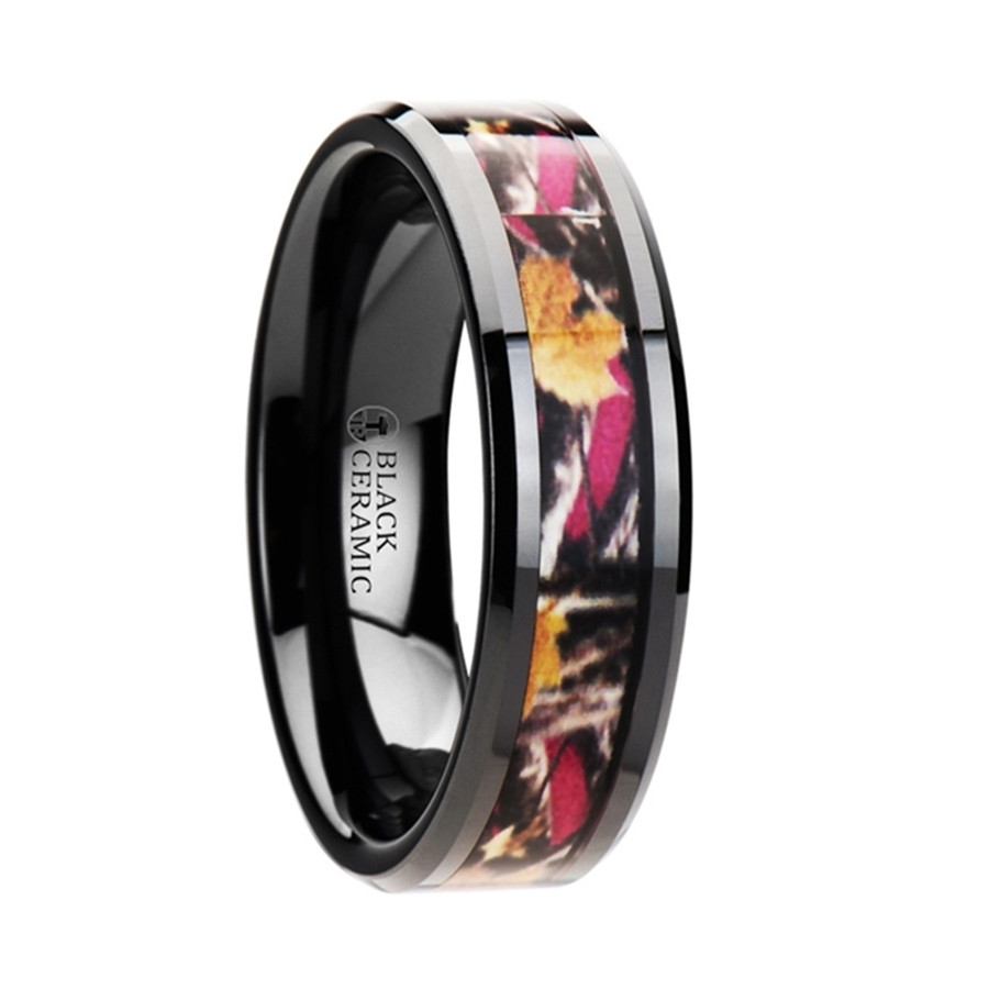 Xuthus Realistic Tree Camo Black Ceramic Wedding Band with Real Pink Oak Leaves from Vansweden Jewelers