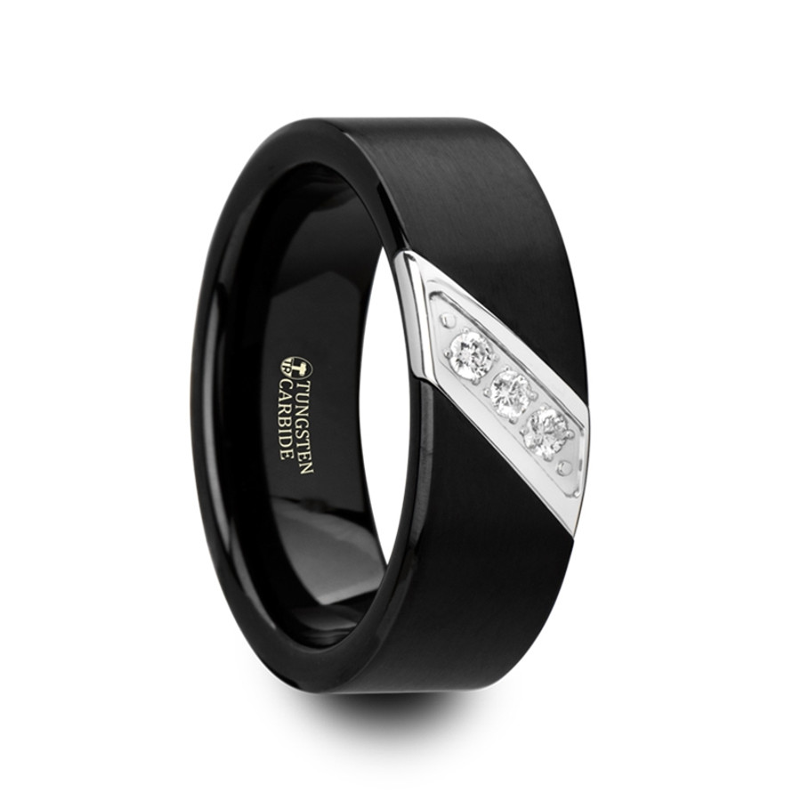 Amphion Flat Black Satin Finished Tungsten Carbide Wedding Band With