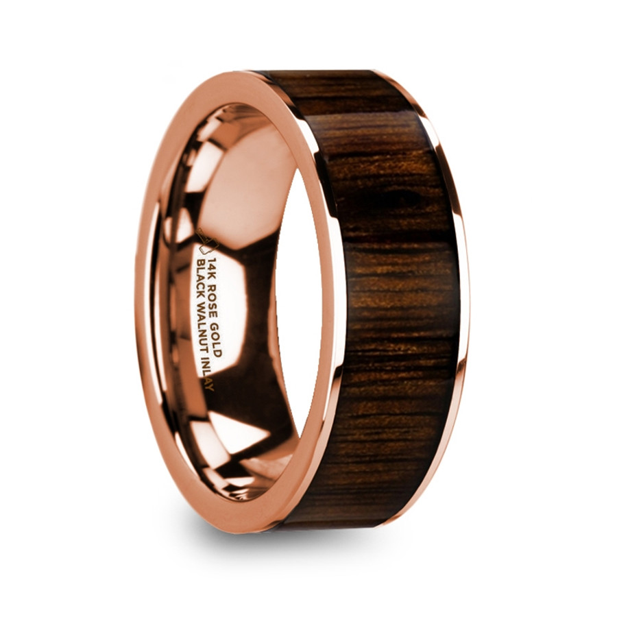 Autochthe Polished Edges 14k Rose Gold Men's Ring with Black Walnut Wood Inlay from Vansweden Jewelers