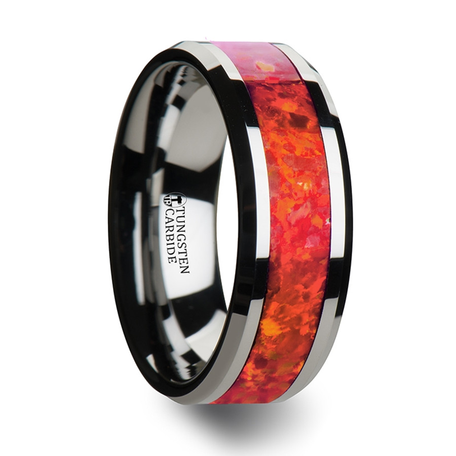 Tydeus Tungsten Wedding Band with Beveled Edges and Red Opal Inlay from Vansweden Jewelers