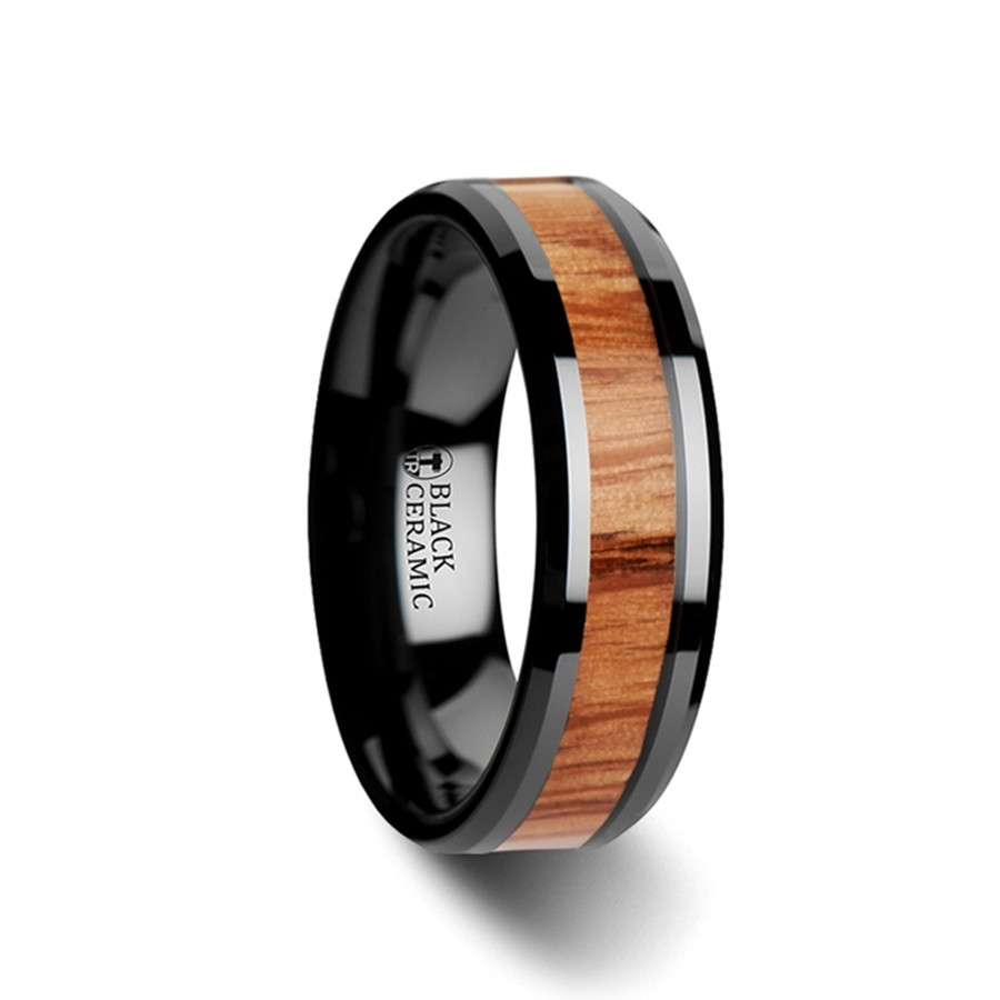 Alcimede Red Oak Wood Inlaid Black Ceramic Ring with Bevels from Vansweden Jewelers