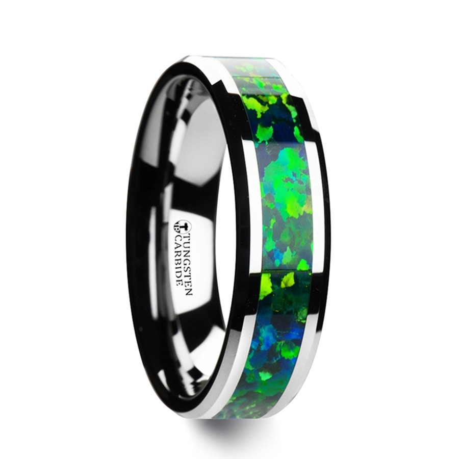 Lysianassa Tungsten Wedding Band with Green and Blue Opal Inlay