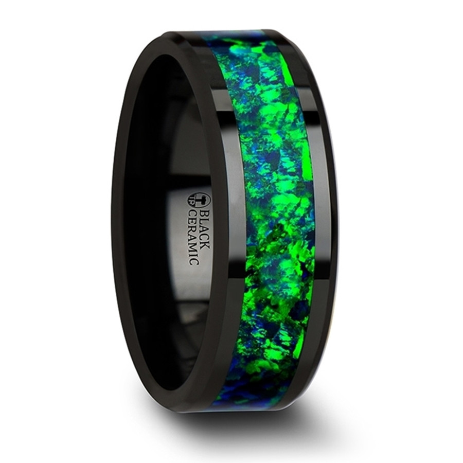Athena Black Ceramic Wedding Band with Beveled Edges and Emerald Green & Sapphire Blue Color Opal Inlay from Vansweden Jewelers