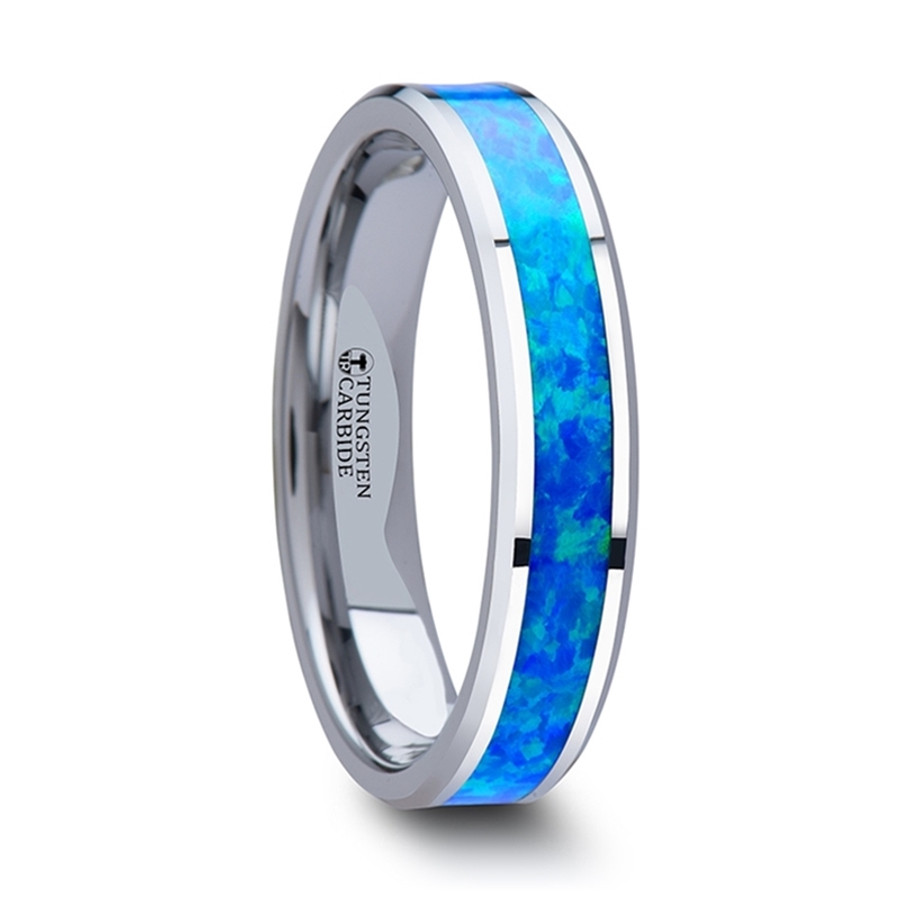 Hera Women's Tungsten Wedding Band with Blue & Green Opal Inlay from Vansweden Jewelers