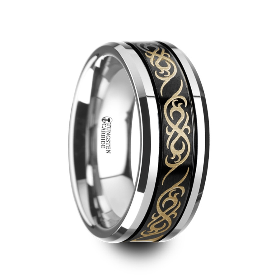 Poseidon Black Tungsten Carbide Wedding Ring With Dual Offset Grooves And Laser Engraved Celtic Pattern