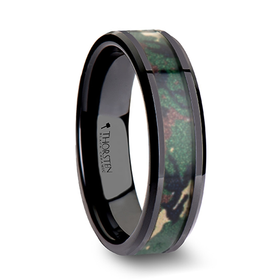 Zeus Black Ceramic Wedding Band with Military Style Jungle Camoflauge Inlay