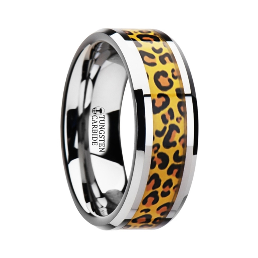 Coeus Tungsten Wedding Ring with Cheetah Print Inlay from Vansweden Jewelers