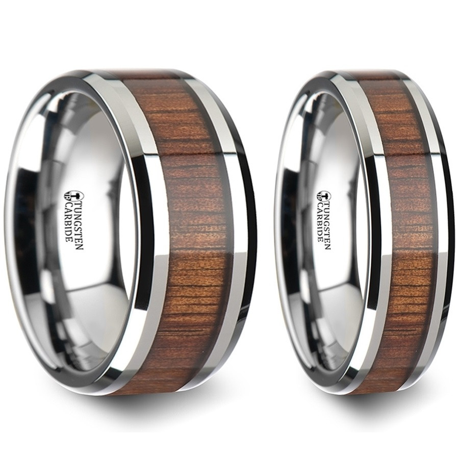 Tiresias Koa Wood Inlaid Tungsten Carbide Couple's Matching Wedding Band Set From Vansweden Jewelers: Wooden Inlay Wedding Band At Websimilar.org