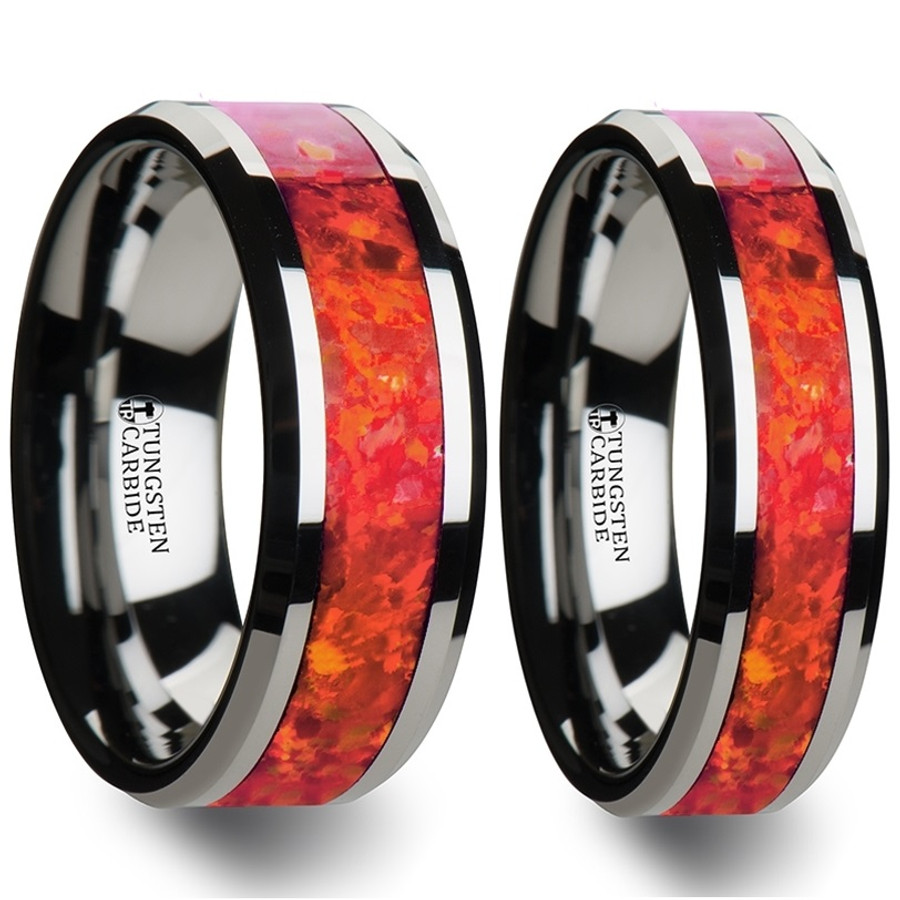 Aisa Red Opal Inlay Tungsten Couple's Matching Wedding Band Set