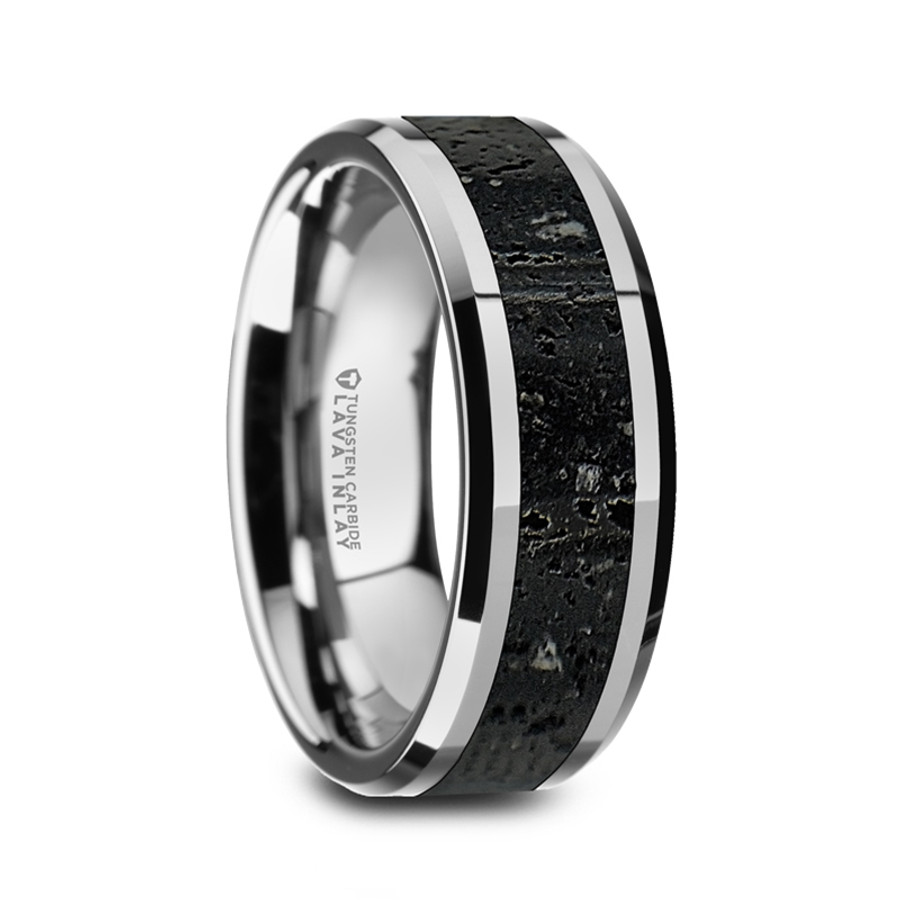 e4c9998f2874 Antandre Men s Polished Tungsten Wedding Band with Black   Gray Lava Rock  Stone Inlay   Polished