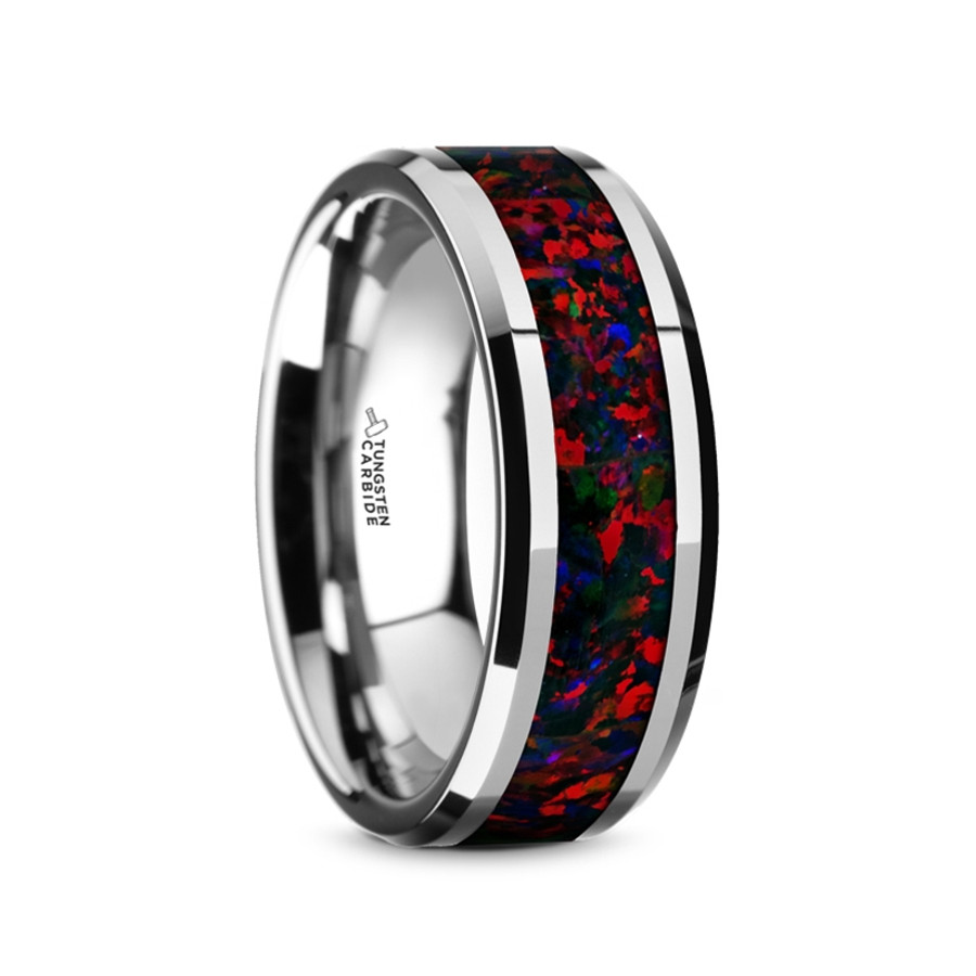 Arges Tungsten Carbide Mens Wedding Band With Black Opal Inlay