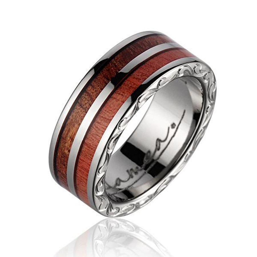 Mens Wedding Bands Titanium.Pink Ivory Hawaiian Koa Wood Men S Wedding Band With Titanium Scroll By Jewelry Hawaii
