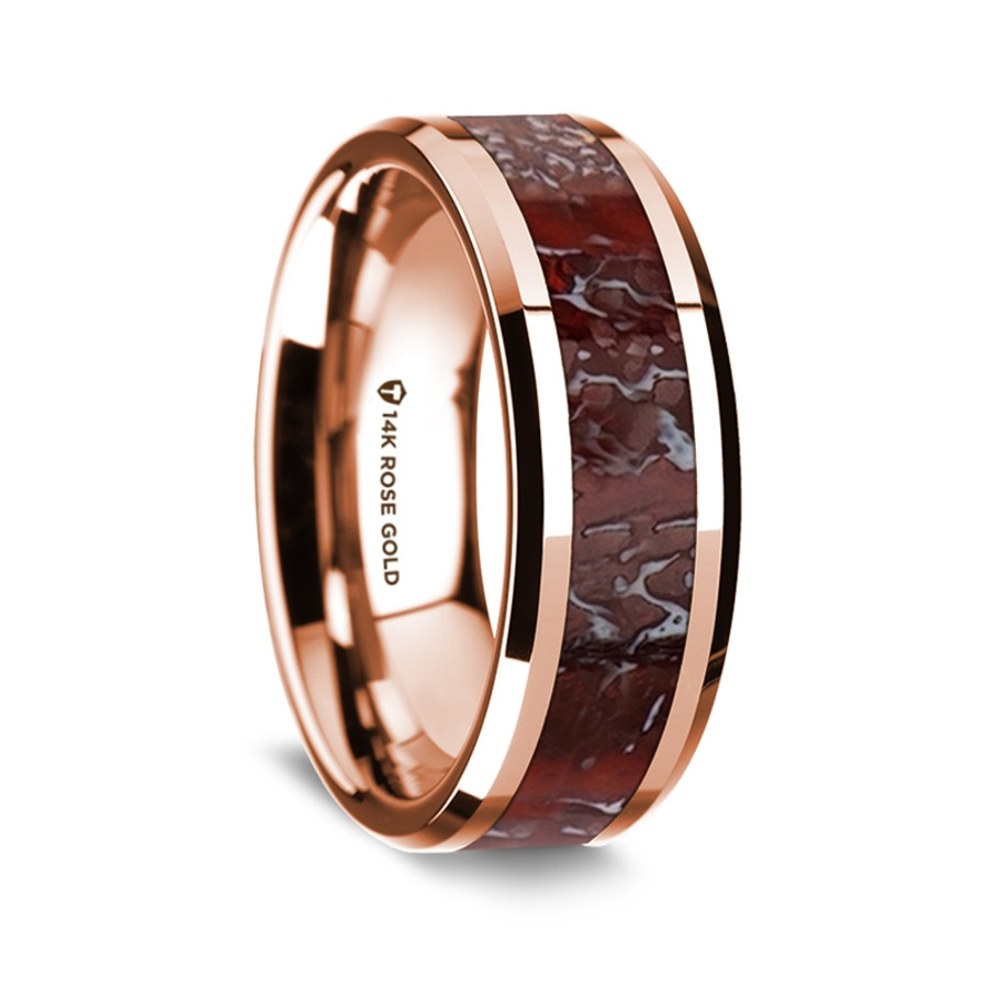 Melpomene Polished 14K Rose Gold Wedding Band with Red Dinosaur Bone Inlay  from Vansweden Jewelers 2a64dfb65