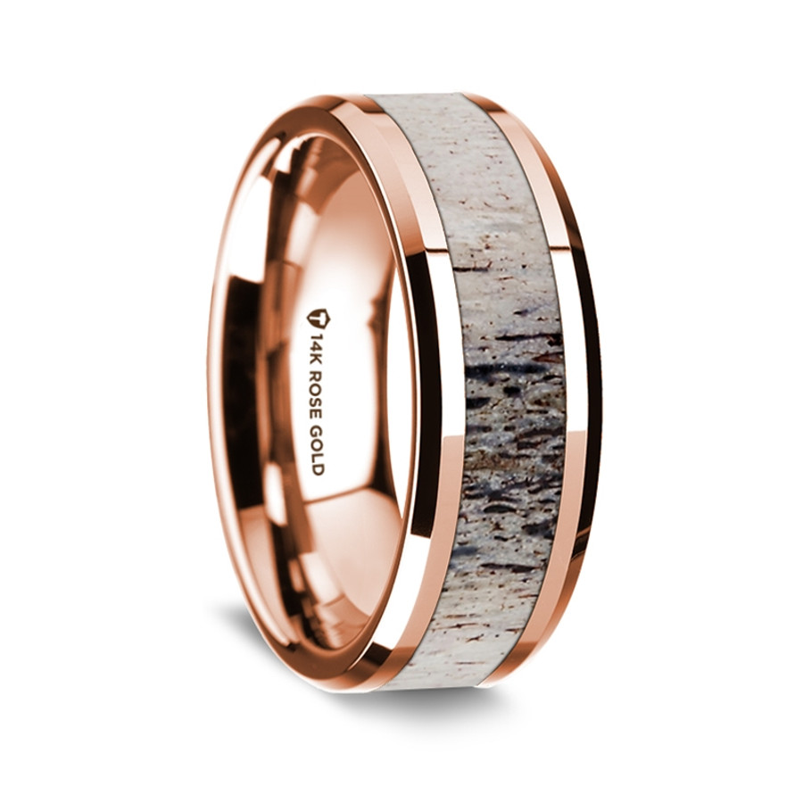 Androsthenes Polished 14K Rose Gold Wedding Band with Ombre Deer Antler Inlay from Vansweden Jewelers