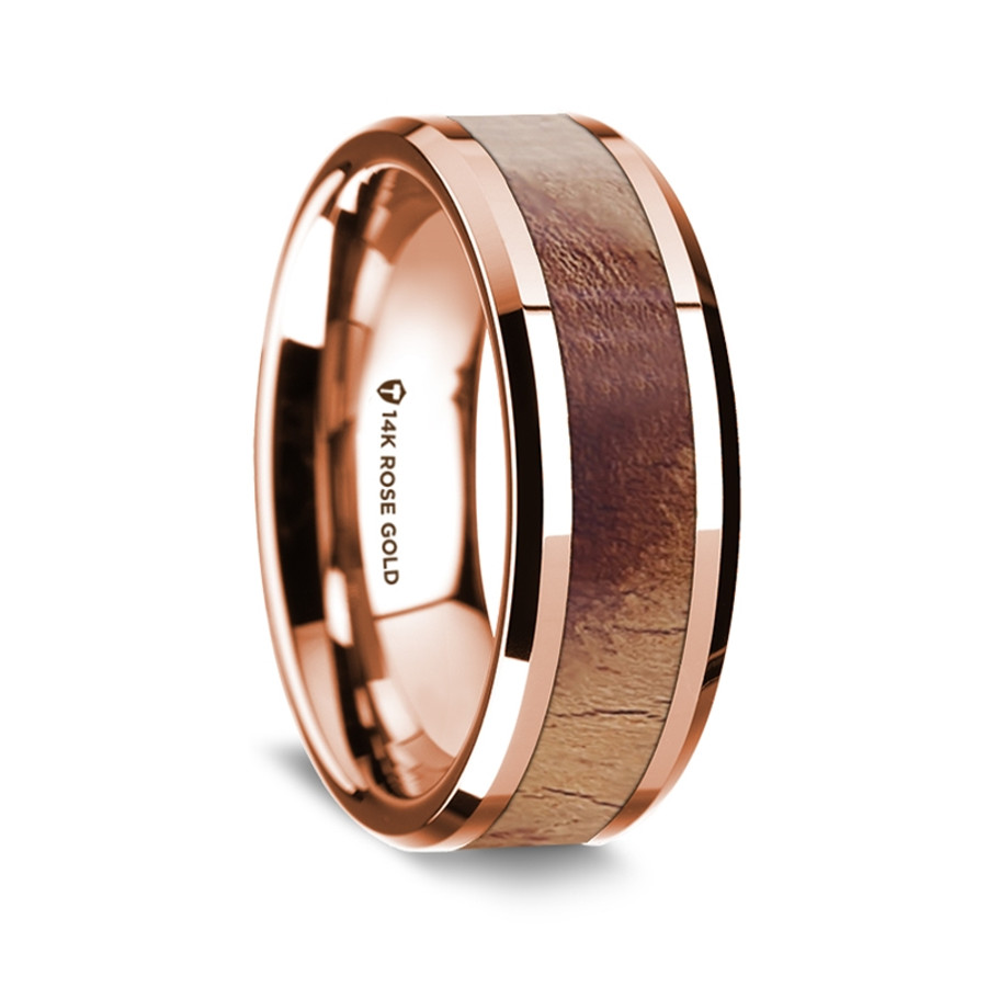 Polymnia Polished 14k Rose Gold Mens Wedding Band With Olive Wood