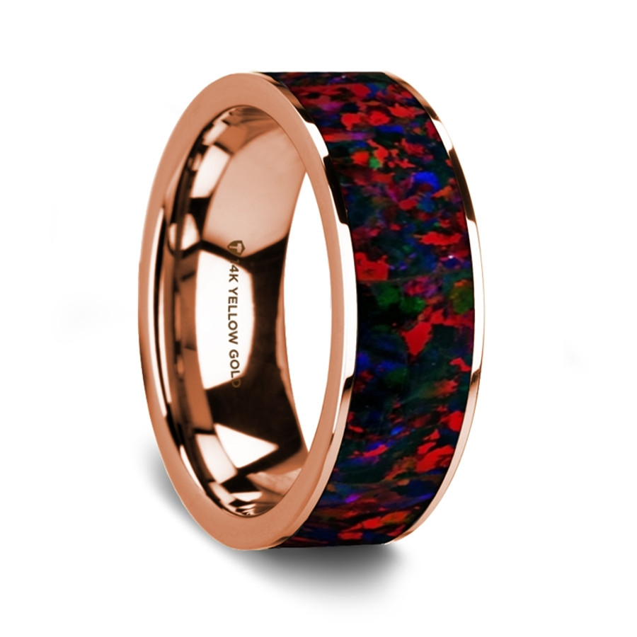 Satyr 14K Rose Gold Wedding Band with Black & Red Opal Inlay from Vansweden Jewelers