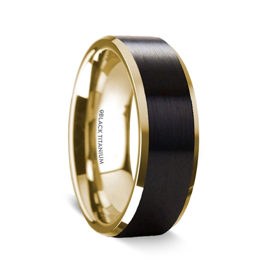 Aeolus Gold Plated Black Titanium Polished Beveled Ring with Brushed Center from Vansweden Jewelers