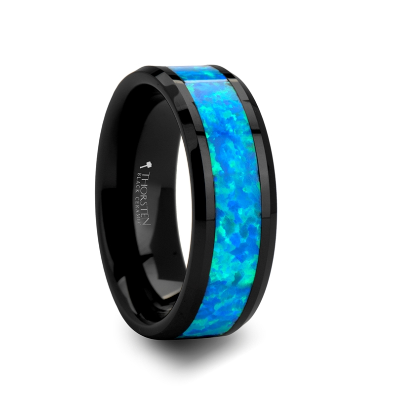 Dionysus Black Ceramic Wedding Band with Blue & Green Opal Inlay from Vansweden Jewelers