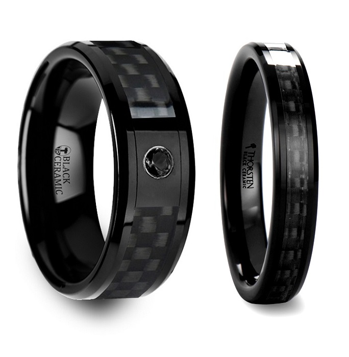 Black Wedding Bands.Lethe Black Carbon Fiber Inlaid Black Ceramic Couple S Matching Wedding Band Set