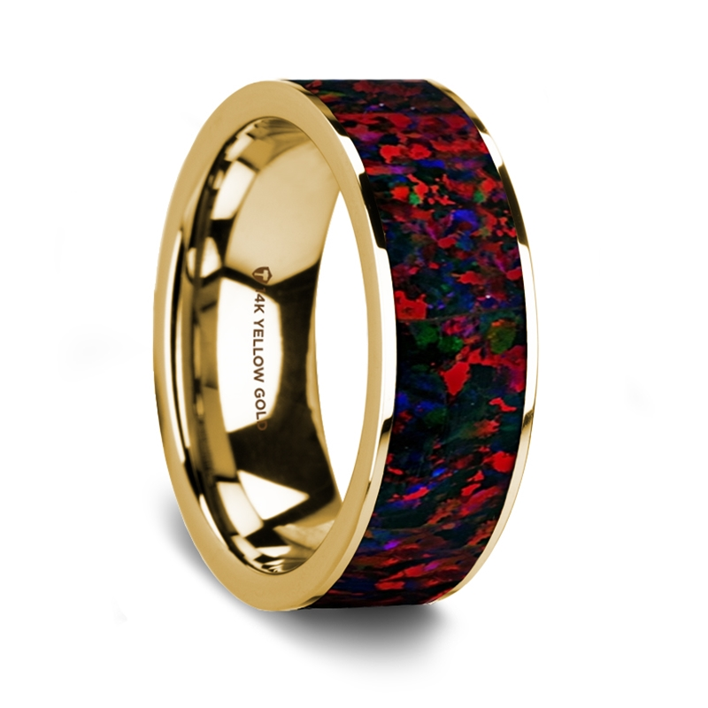 Opal Wedding Band.Eusebius 14k Yellow Gold Wedding Band With Black Red Opal Inlay