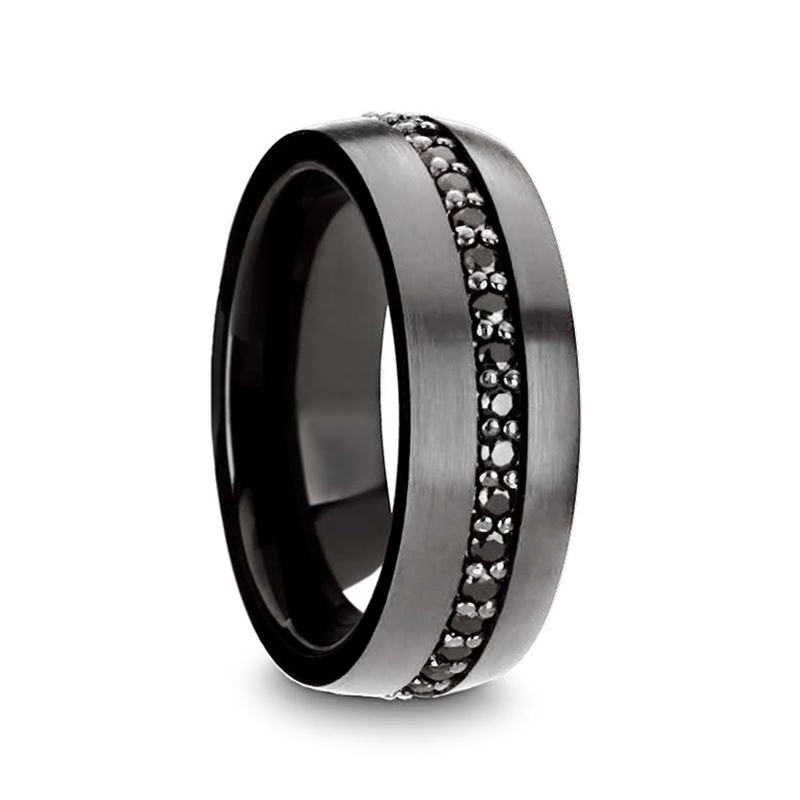Aegyptus Gunmetal Tungsten Ring with Black Sapphires from Vansweden Jewelers