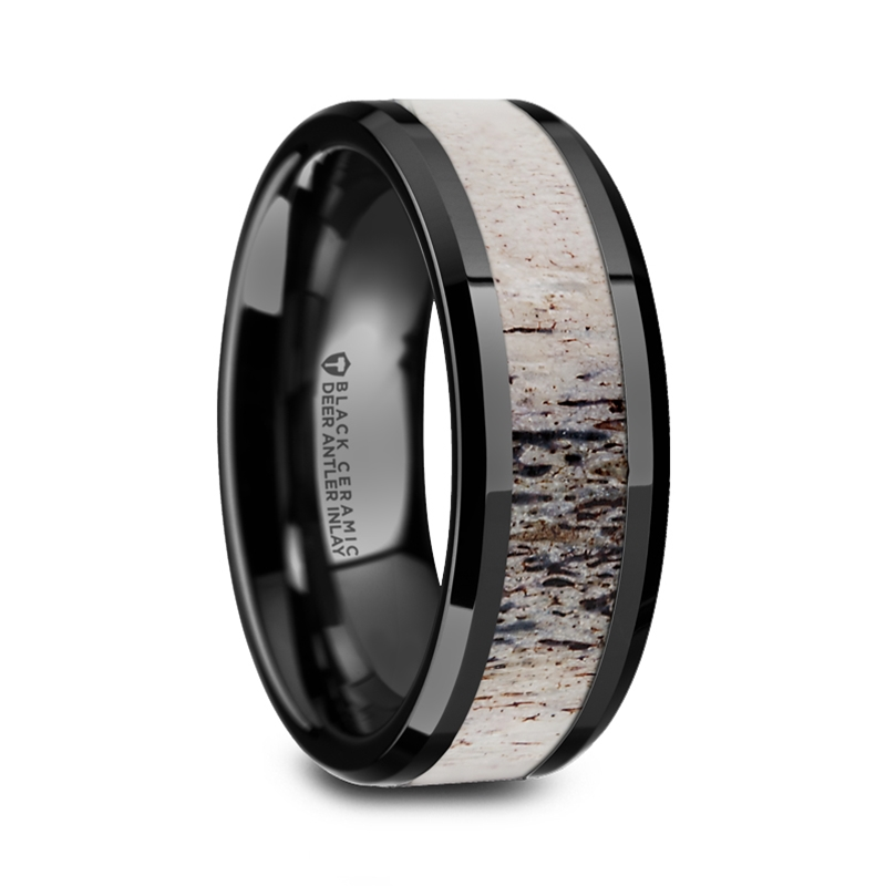 Agamemnon Beveled Black Ceramic Polished Men's Wedding Band with Ombre Antler Inlay from Vansweden Jewelers