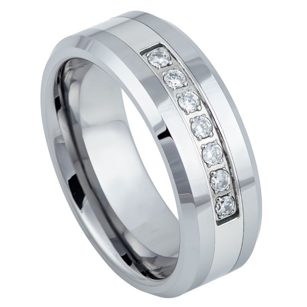 Pleiades Tungsten Men's Wedding Band with Cubic Zirconia