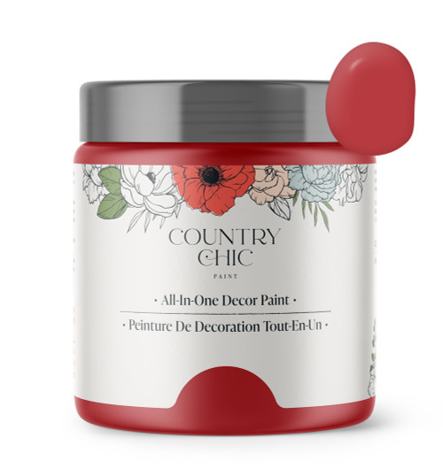 16oz jar of Country Chic Chalk Style All-In-One Paint in the color Devotion. Scarlet red.