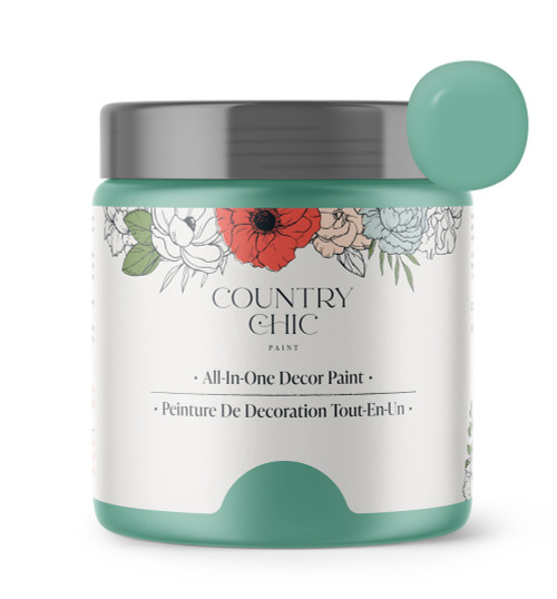 16oz jar of Country Chic Chalk Style All-In-One Paint in the color Bliss. Muted teal.