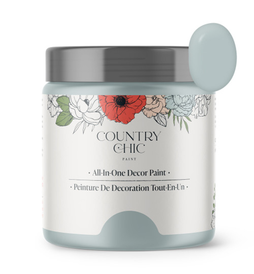 16oz jar of Country Chic Chalk Style All-In-One Paint in the color Dune Grass. Muted green.