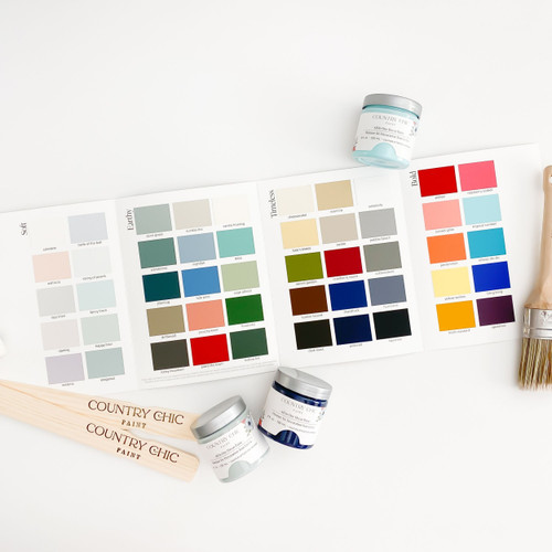 Inside View of Country Chic Paint Color Card with paint jars, paint brush, and stir stick