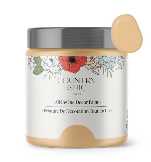 16oz jar of Country Chic Chalk Style All-In-One Paint in the color Bee's Knees. Muted pastel yellow.