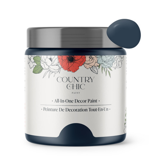 16oz jar of Country Chic Chalk Style All-In-One Paint in the color Peacoat. Deep navy.