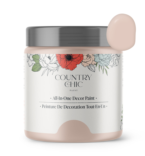 16oz jar of Country Chic Chalk Style All-In-One Paint in the color Ooh la la. Blush pink.