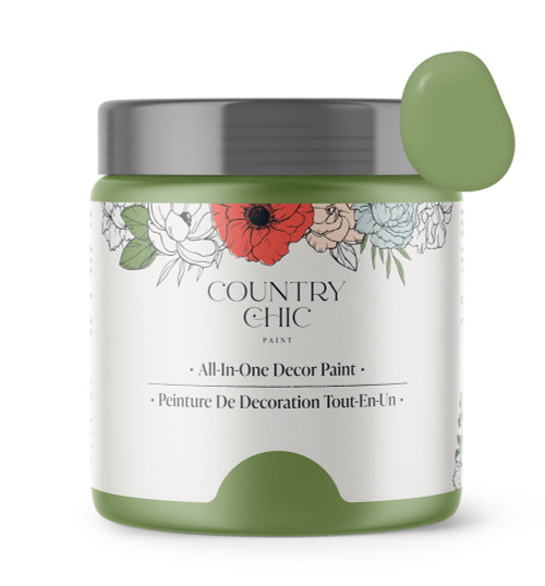 16oz jar of Country Chic Chalk Style All-In-One Paint in the color Rustic Charm. French green.