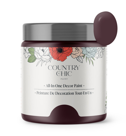 16oz jar of Country Chic Chalk Style All-In-One Paint in the color Cheers! Deep merlot.