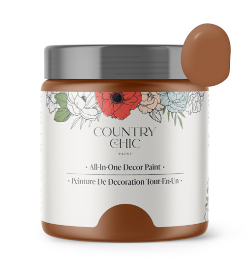 16oz jar of Country Chic Chalk Style All-In-One Paint in the color With a Twist. Cognac brown.