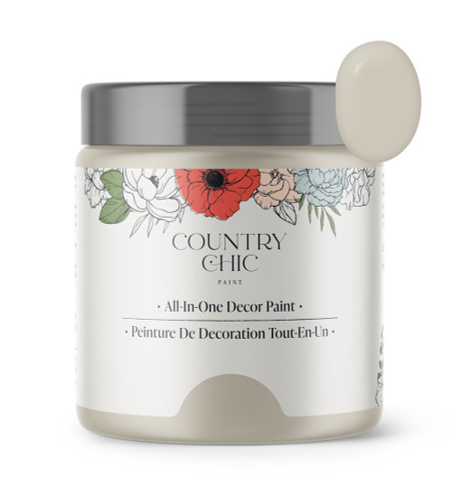 16oz jar of Country Chic Chalk Style All-In-One Paint in the color Sunday Tea. Warm grey-beige.