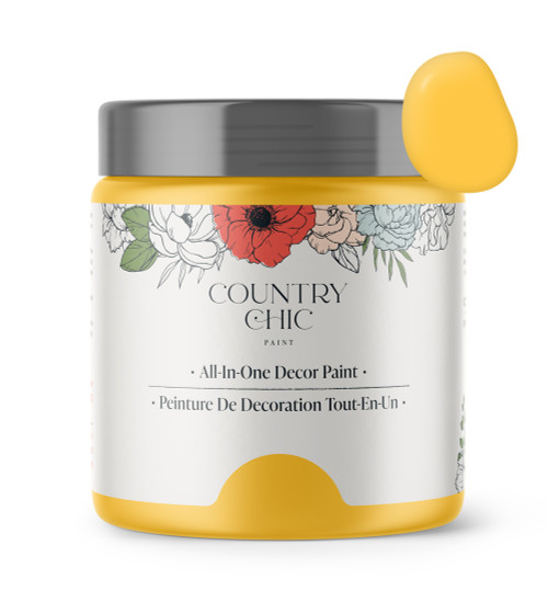 16oz jar of Country Chic Chalk Style All-In-One Paint in the color Luminous. Sunshine yellow.