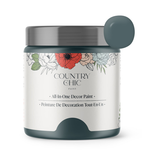 16oz jar of Country Chic Chalk Style All-In-One Paint in the color Jitterbug. Deep muted teal.