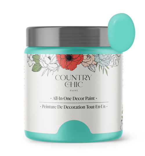 16oz jar of Country Chic Chalk Style All-In-One Paint in the color Tropical Cocktail. Turquoise.