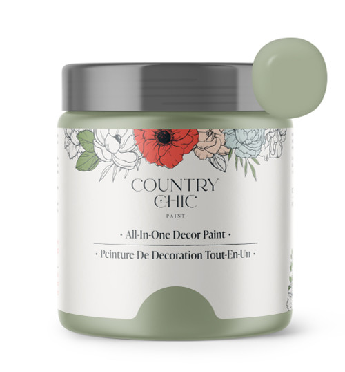 16oz jar of Country Chic Chalk Style All-In-One Paint in the color Sage Advice. Sage green.