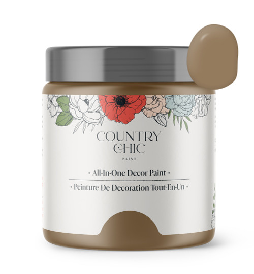 16oz jar of Country Chic Chalk Style All-In-One Paint in the color Driftwood. Muted brown.