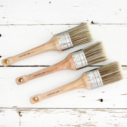 """Three 1.5"""" Country Chic Paint Oval Paint Brushes"""
